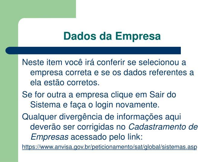 Dados da Empresa