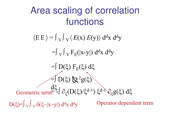 Area scaling of correlation functions