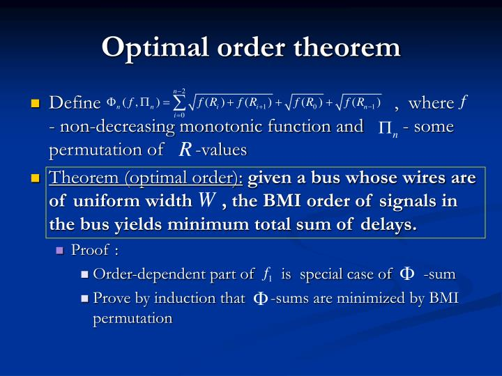 Optimal order theorem