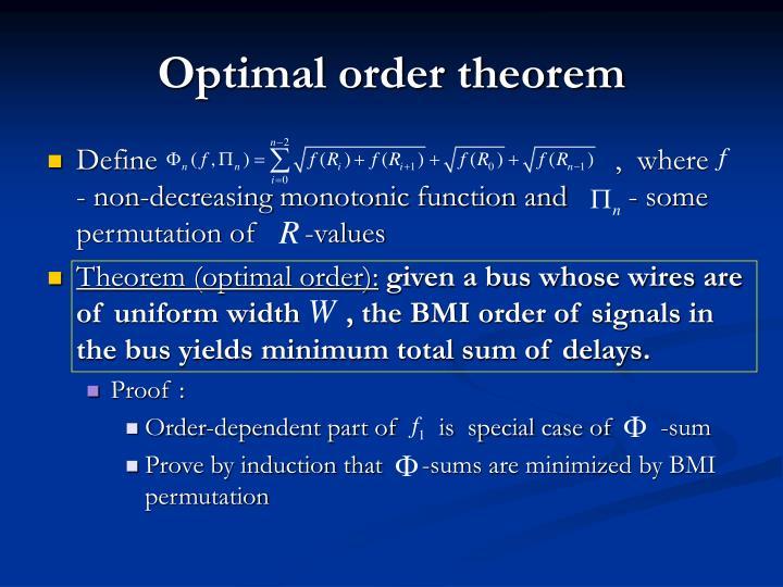 Optimal order theorem