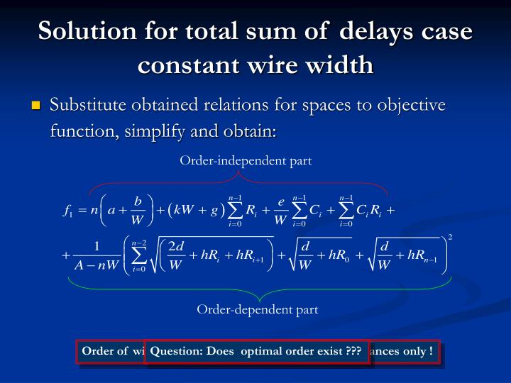 Solution for total sum of delays case