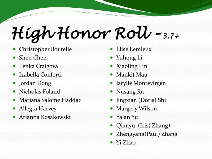 High Honor Roll –