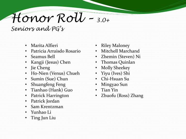 Honor Roll –