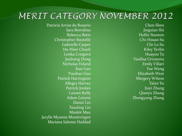 MERIT CATEGORY NOVEMBER 2012