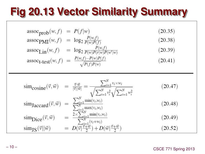 Fig 20.13 Vector Similarity Summary