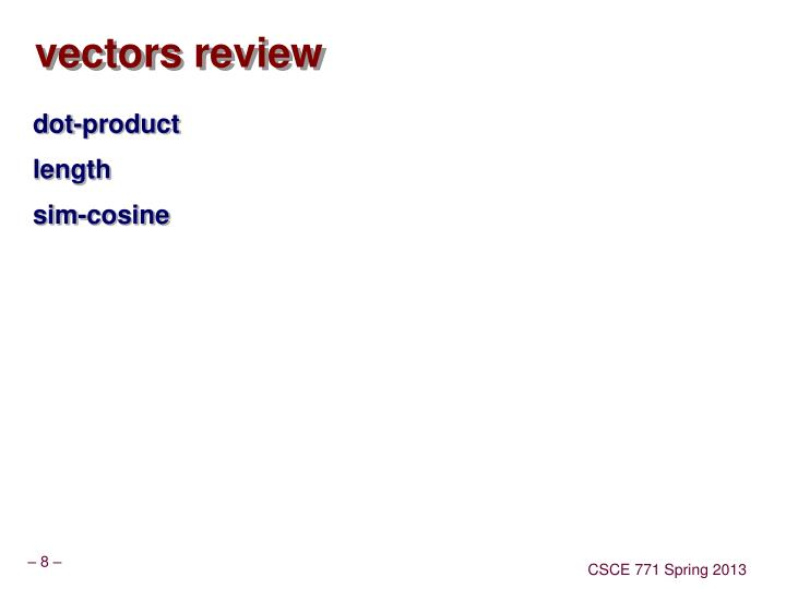 vectors review