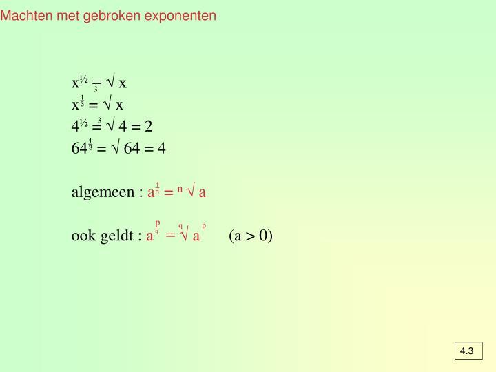 Machten met gebroken exponenten