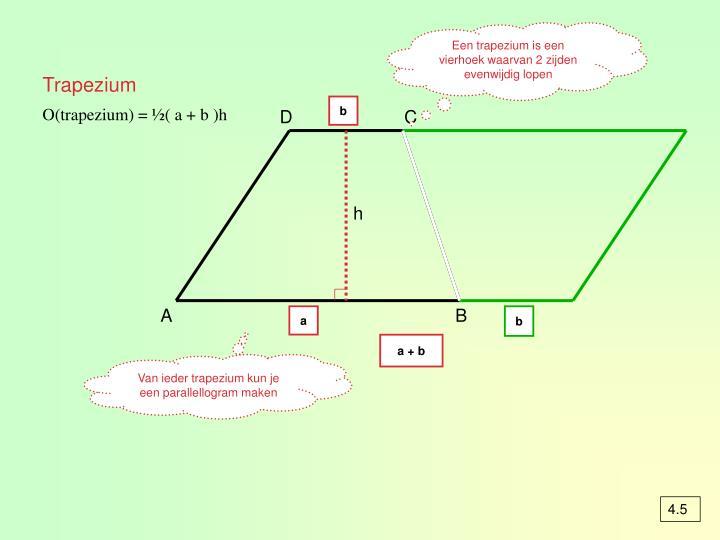 Een trapezium is een vierhoek waarvan 2 zijden evenwijdig lopen