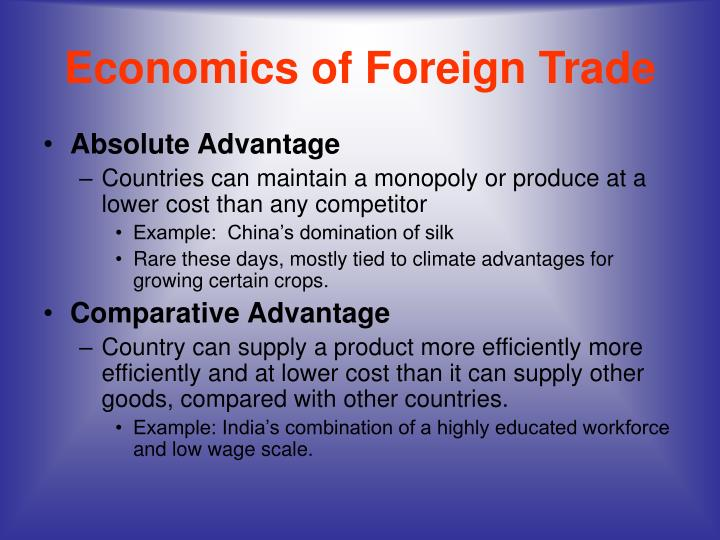 Economics of Foreign Trade