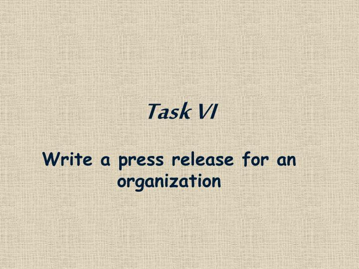 Task VI