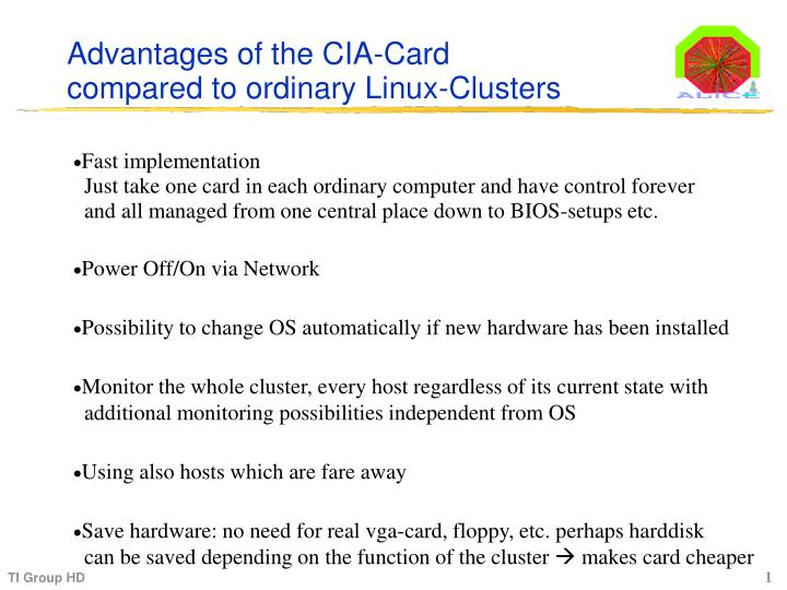 Advantages of the CIA-Card