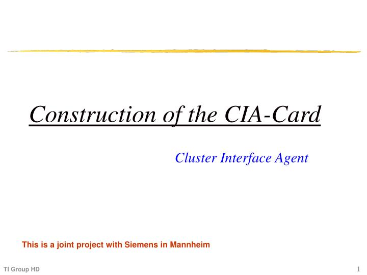 Construction of the CIA-Card