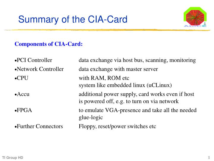 Summary of the CIA-Card