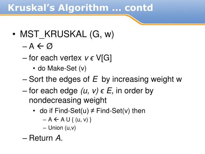 Kruskal's Algorithm … contd