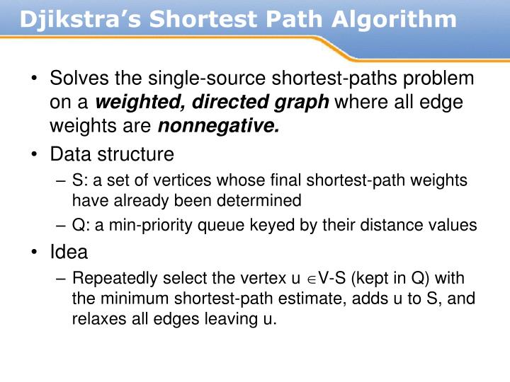 Solves the single-source shortest-paths problem on a