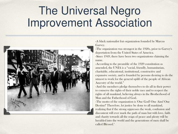 The Universal Negro Improvement Association
