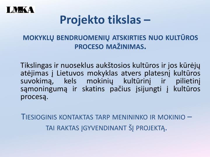 Projekto tikslas –