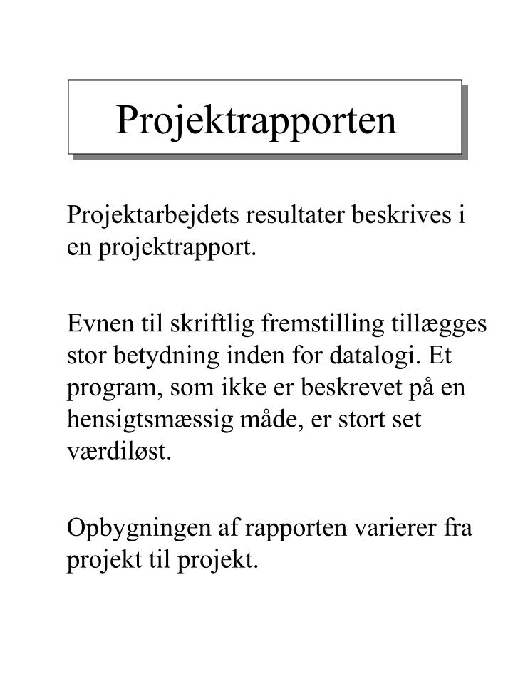 Projektrapporten