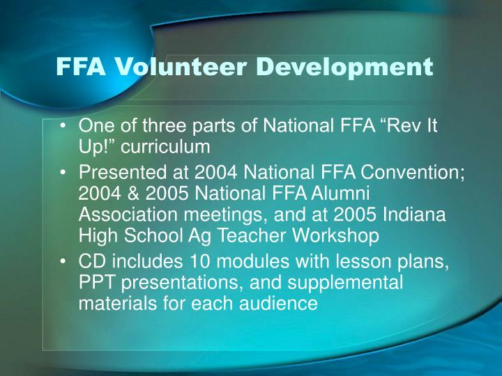 FFA Volunteer Development