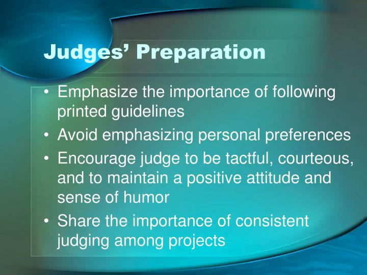 Judges' Preparation