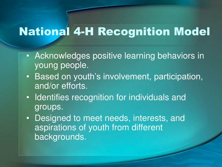 National 4-H Recognition Model