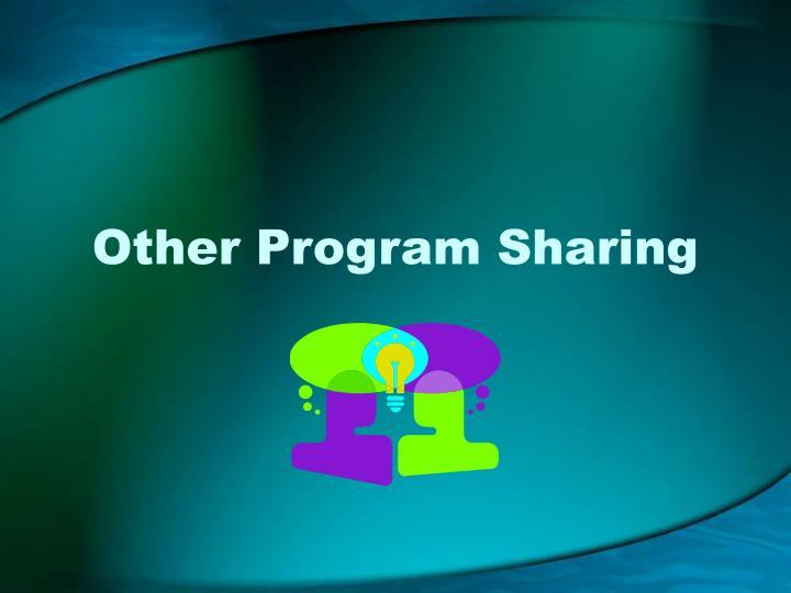 Other Program Sharing