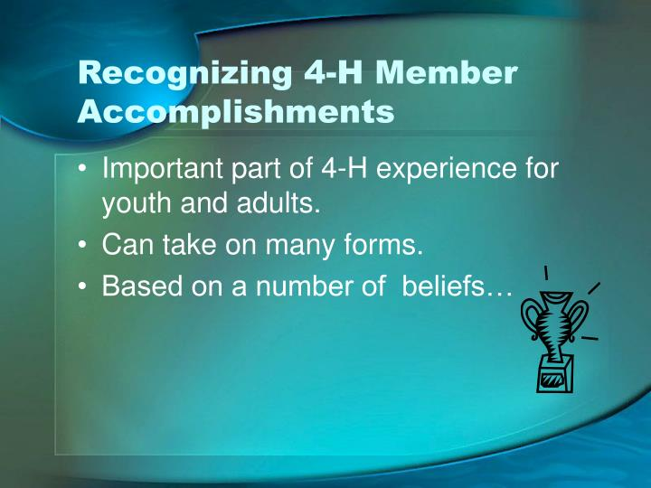 Recognizing 4-H Member Accomplishments