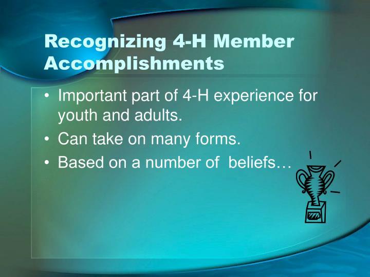Recognizing 4-H Member Accomplishments