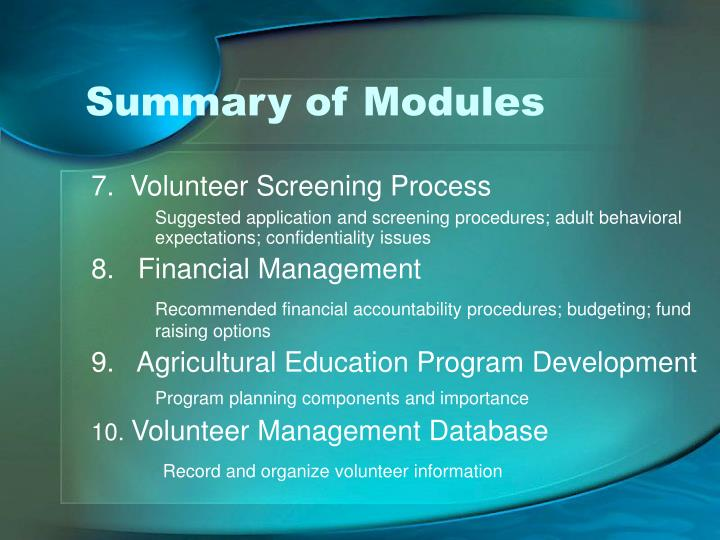 Summary of Modules