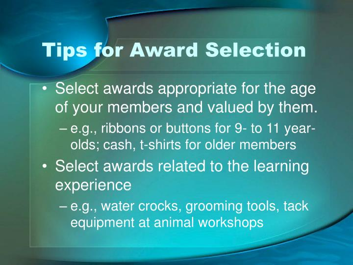 Tips for Award Selection