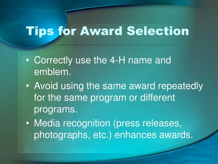 Tips for Award Selection