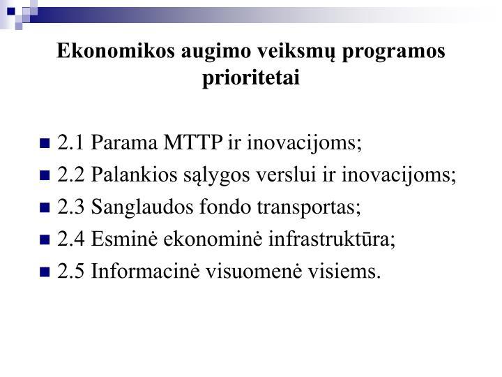 Ekonomikos augimo veiksmų programos prioritetai