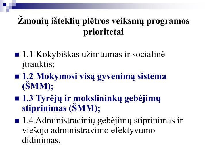 Žmonių išteklių plėtros veiksmų programos prioritetai