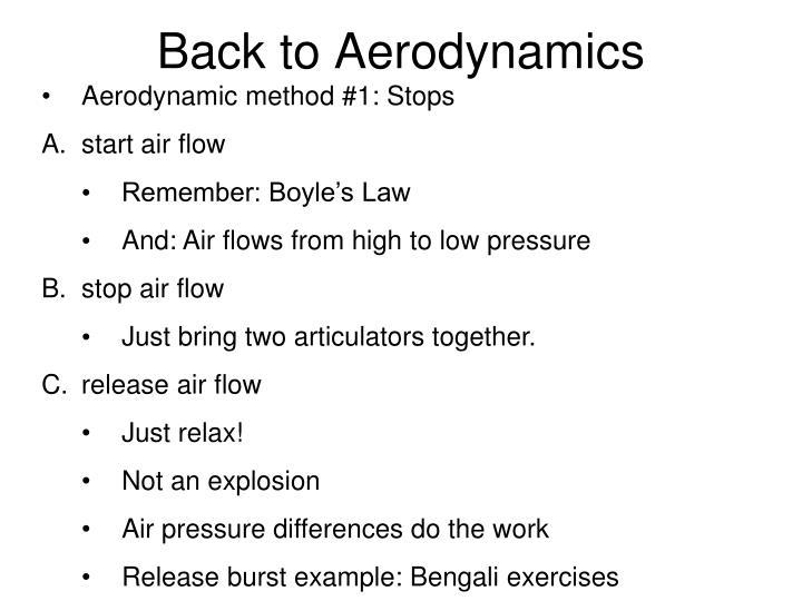 Back to Aerodynamics