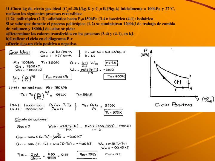 11.Cinco kg de cierto gas ideal (C