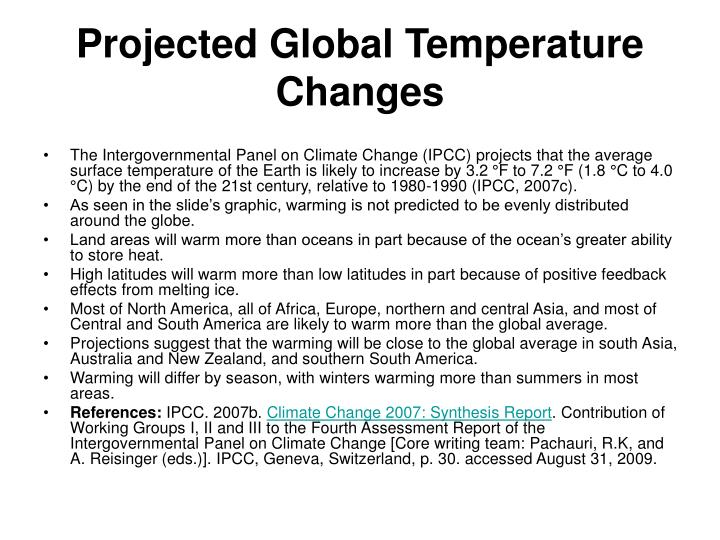 Projected Global Temperature Changes