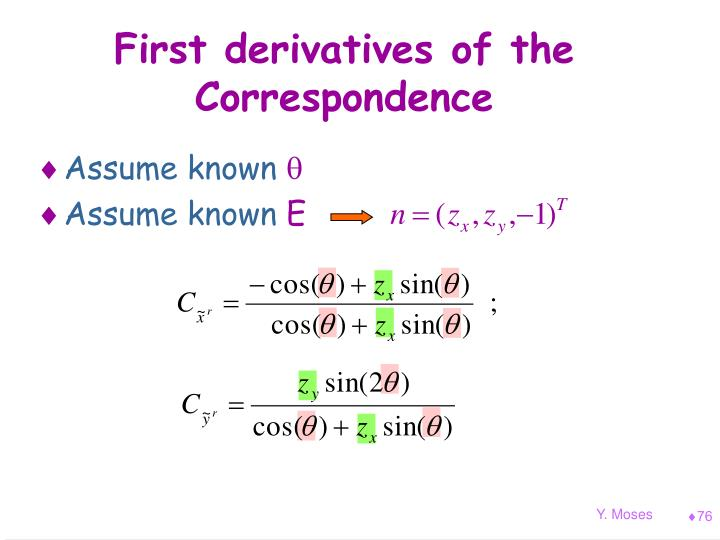 First derivatives of the Correspondence