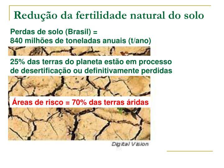 Redução da fertilidade natural do solo