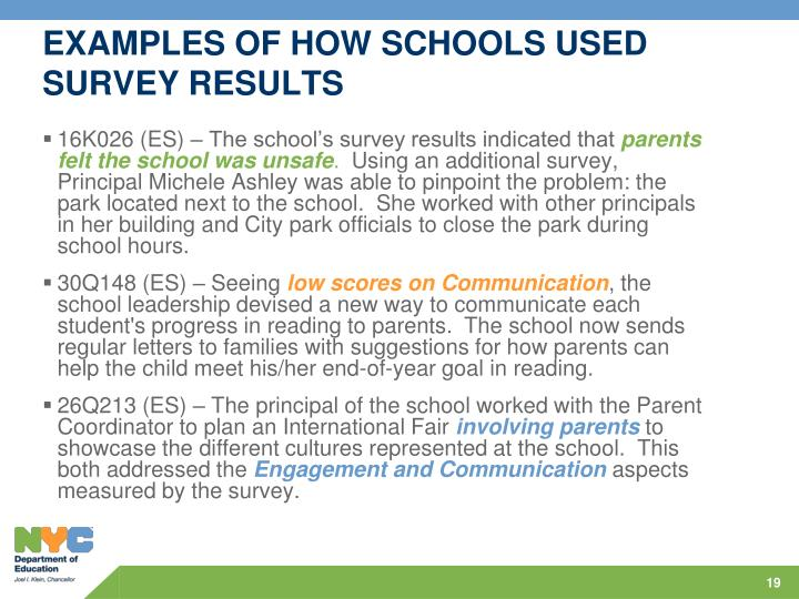 EXAMPLES OF HOW SCHOOLS USED SURVEY RESULTS