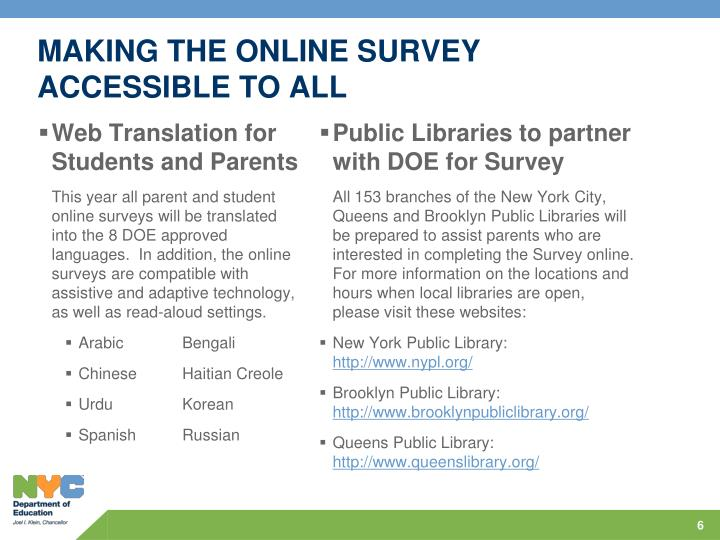 MAKING THE ONLINE SURVEY ACCESSIBLE TO ALL