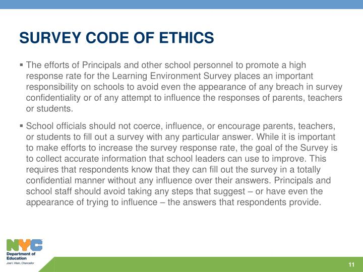 SURVEY CODE OF ETHICS