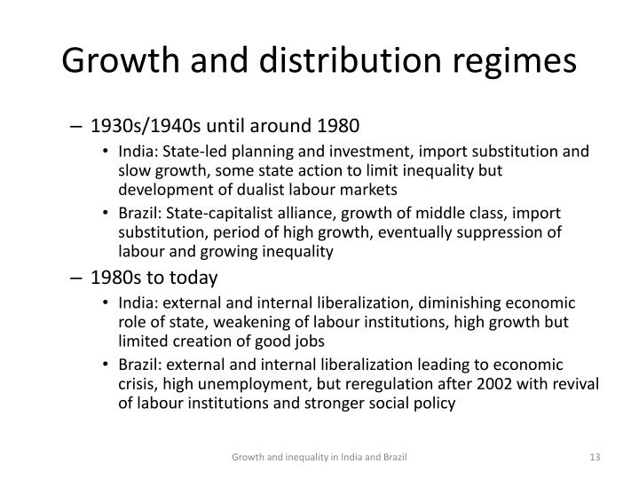 Growth and distribution regimes