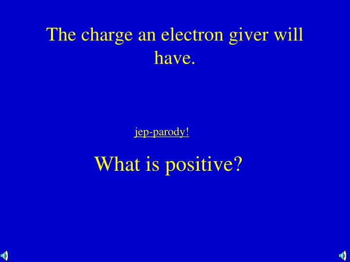 The charge an electron giver will have.