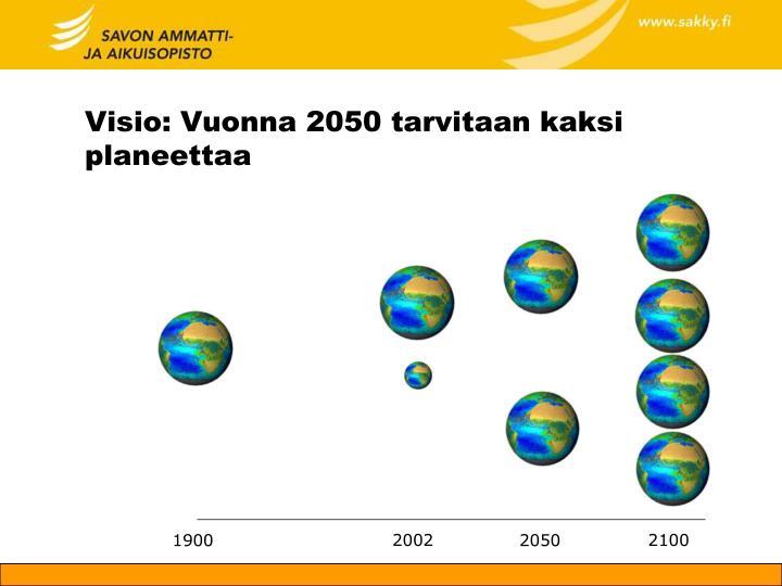 Visio: Vuonna 2050 tarvitaan kaksi planeettaa