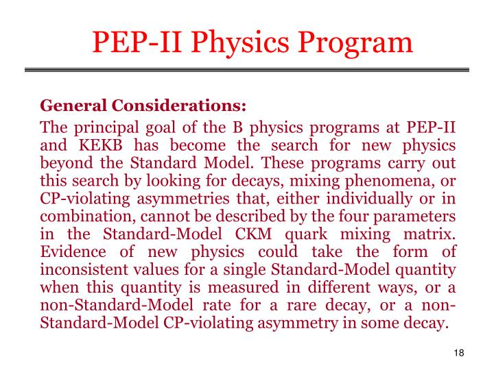 PEP-II Physics Program