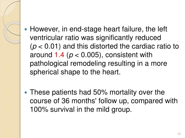 However, in end-stage heart failure, the left ventricular ratio was significantly reduced (
