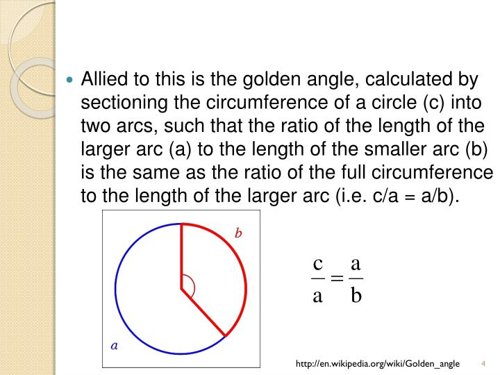 Allied to this is the golden angle, calculated by sectioning the circumference of a circle (c) into two arcs, such that the ratio of the length of the larger arc (a) to the length of the smaller arc (b) is the same as the ratio of the full circumference to the length of the larger arc (i.e. c/a=a/b).