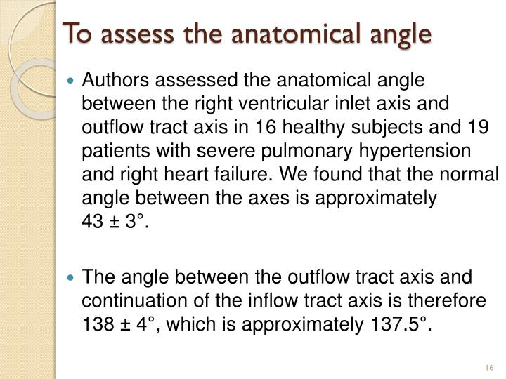 To assess the anatomical angle