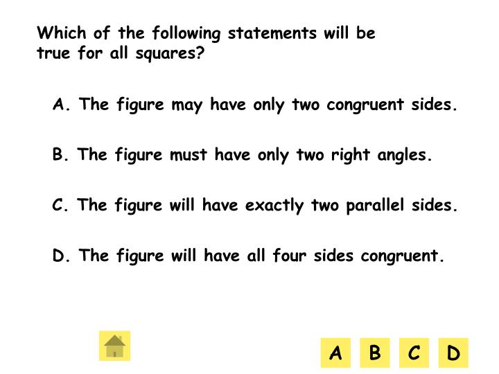 Which of the following statements will be true for all squares?