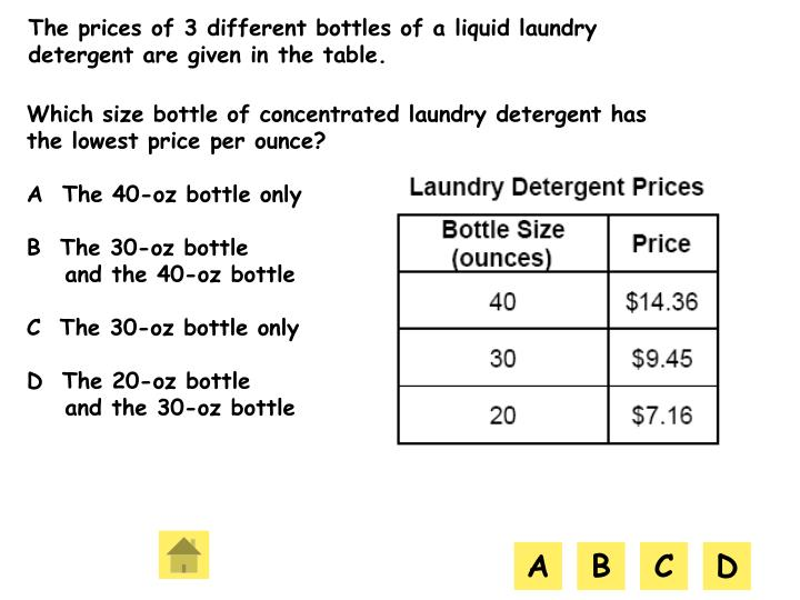 The prices of 3 different bottles of a liquid laundry detergent are given in the table.